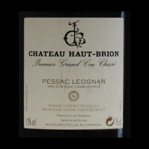 Chateau Haut-Brion Millesime etiquette dos