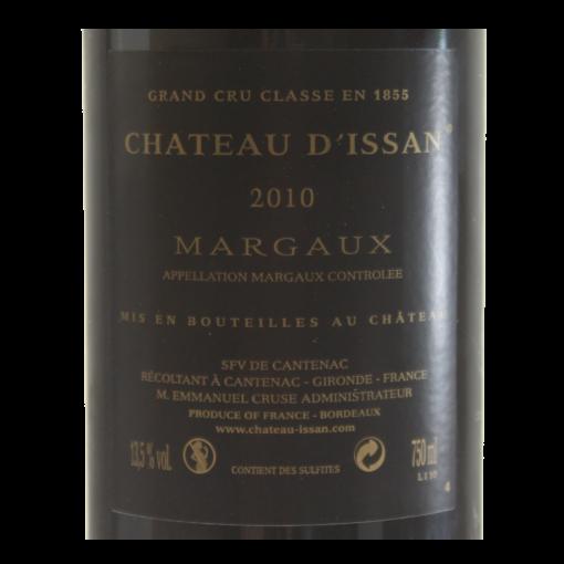 Chateau d Issan Margaux  etiquette dos