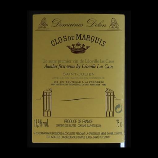 Clos du Marquis Saint-Julien 2009 etiquette dos
