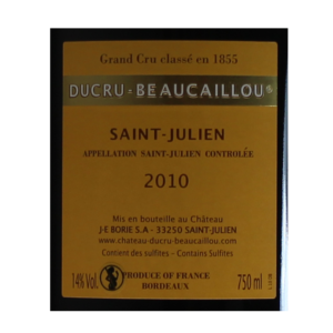 Ducru-Beaucaillou Saint-Julien 2010 etiquette dos