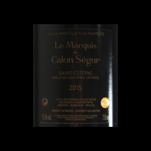 Le Marquis de Calon Segur Saint-Estephe 2015 etiquette dos