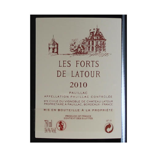 Pauillac les forts de Latour 2010 etiquette dos