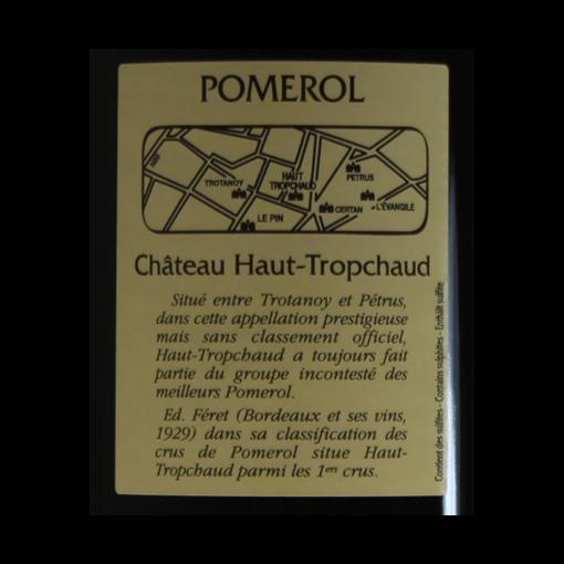 Pomerol Chateau Haut-Tropchaud 2012 etiquette dos