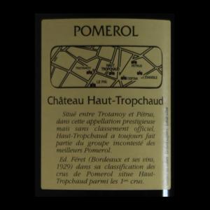 Pomerol Chateau Haut-Tropchaud 2014 etiquette dos
