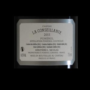 Pomerol Chateau La Conseillante 2015 etiquette dos