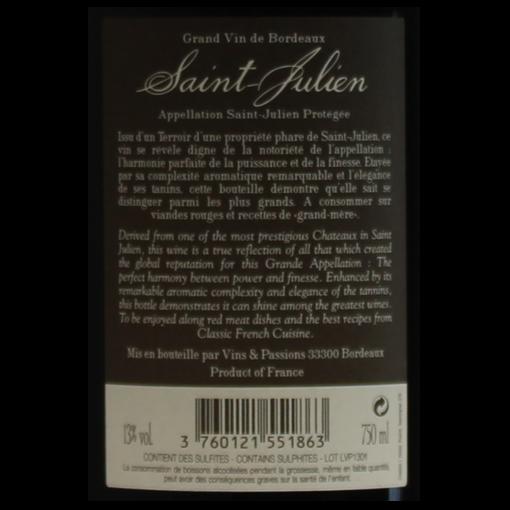 Terroir de Saint-Julien etiquette dos